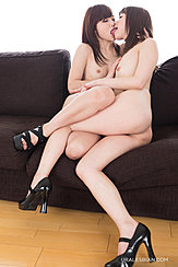 Girls Entwined Nude On Sofa Kissing Small Tits High Heels