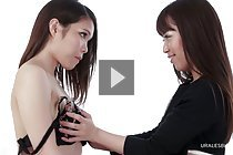 Nishino Ena and Momoi Momo stripping clothes sucking small tits